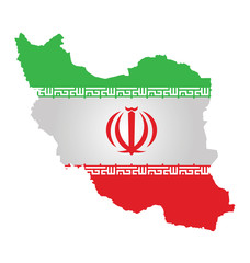 Flag of Iran overlaid on outline map