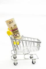 Shopping cart carrying bundle of Yuan note isolated on white