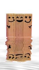 Happy wooden blocks family.