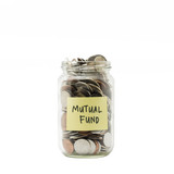 Isolated coins in jar with mutual fund label poster