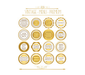 Set of gold badges and labels