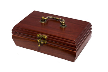 Wooden casket on white background