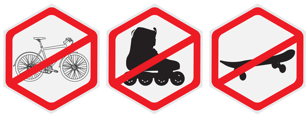 No bikes, ride, roller, allowed, hexagon,sign