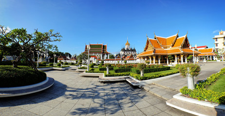 Panorama view of Wat Ratchanaddaram and Loha Prasat Metal Palace