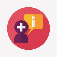 medical speech flat icon with long shadow