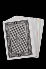 A deck of cards isolated on black background