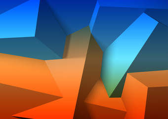 Abstract background with overlapping blue and orange cubes