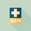 Постер, плакат: Hospitals 24 hours flat icon with long shadow