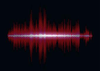 Red sound waveform with hex grid light filter