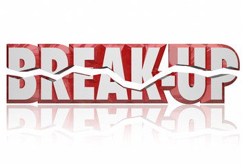 Break-Up 3d Words Divorce Separation Split Partnership