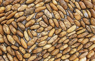 Brown Sea stones background on Side walk - Thailand