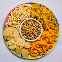 Indonesian snack platter in white background