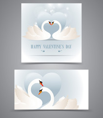 Two graceful Swan with valentine heart card.