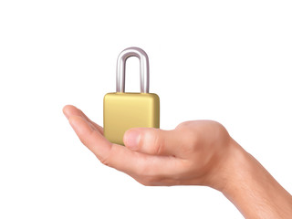 hand holding padlock. security concept