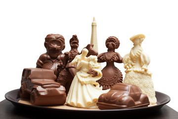 Tray with variety of chocolate figurines