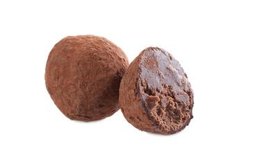 Studio shot of dark chocolate truffle, close-up
