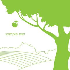 illustration with apple tree