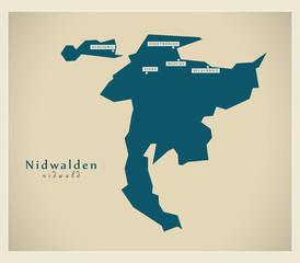Moderne Landkarte - Nidwalden CH