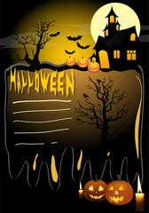 Halloween template background with pumpkin horror castle