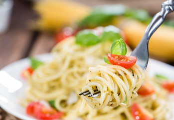 Spaghetti with Pesto on a fork