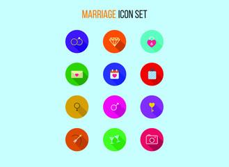 Set of outline marriage icons