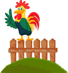 Cute rooster crowing on the fence