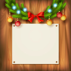 Vector Christmas garland on wooden wall
