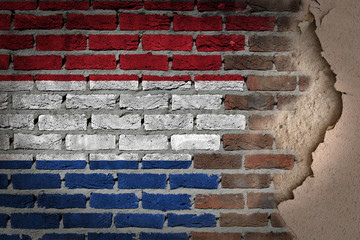 Dark brick wall with plaster - Netherlands