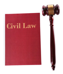 Civil Law book with scales and hammer isolated on white