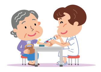 採血 高齢者 女性 看護師