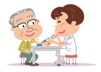 採血 高齢者 男性 看護師