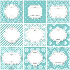 Elegant frame set with on seamless patterns.