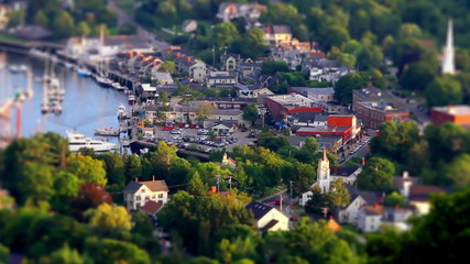 Maine small town tilt shift time lapse