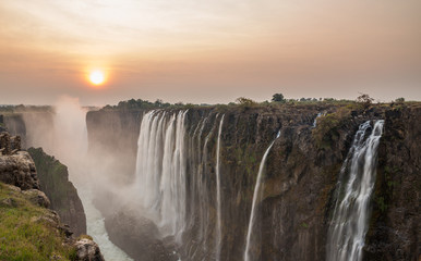 Wide angle view of Victoria Falls sunset