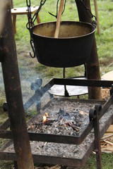 An Old Style Outdoor Cooking Fire and Pot.