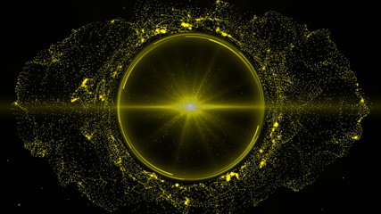 Pattern made of yellow dots in motion against black background