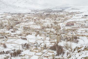 Leh Ladakh city in winter