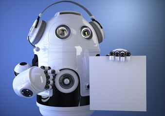 Robotic operator with headset and blank board. Technology concep