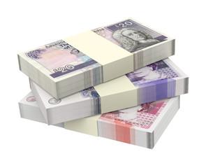 Scottish and British money isolated on white background.