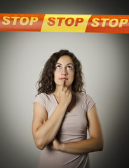 Girl and STOP line.