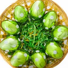Green Glass Eggs in Basket