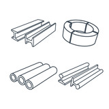 Metallurgy products icons set poster