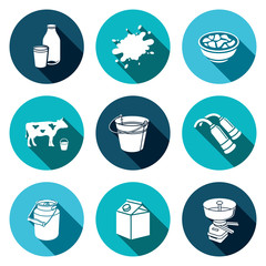 Milk production Icons set