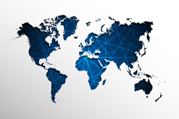 World map-Abstract blue straight lines background.