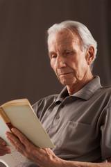 Elderly senior men reading
