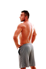 Back view portrait of a muscular man over white backgorund