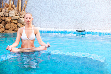 Meditating in the pool