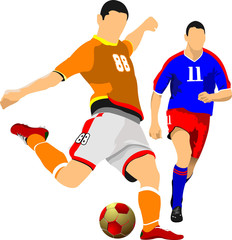 Two soccer players. Vector illustration