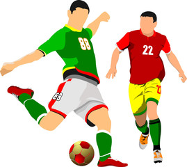 Two soccer players poster. Vector illustration