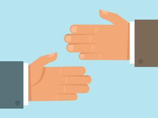 Vector handshake concept in flat style